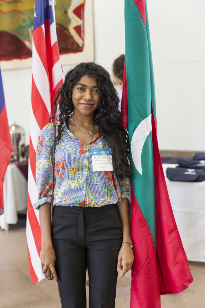 Scholar Meenas Shaugy from the Maldives at an Australia Awards Welcome and Farewell event that took place in Canberra.